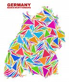 Mosaic Baden-wurttemberg Land Map Of Triangles In Bright Colors Isolated On A White Background. Tria poster