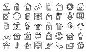 Smart Home Icons Set. Outline Set Of Smart Home Vector Icons For Web Design Isolated On White Backgr poster