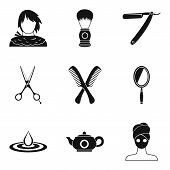 Hairdo Icons Set. Simple Set Of 9 Hairdo Icons For Web Isolated On White Background poster