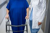 Mid section of mature Caucasian female doctor and senior Caucasian female patient standing together  poster