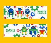 Robotics Creation Icons Set Of Banners Vector Illustration. Celebration. Futuristic Artificial Intel poster