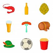 Beer Evening Icons Set. Cartoon Set Of 9 Beer Evening Icons For Web Isolated On White Background poster