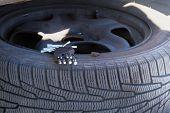 Automobile Maintenance Concept. Technicians Are Changing Tires. Car Service. Changing A Flat Car Tir poster