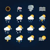 Weather Icons Sun And Clouds In Sky, Rain With Snow, Thunder And Lightning At Hurricane. Flat Illust poster