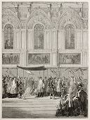Pope Pious IX bringing Eucharist to Sistine Chapel. Created by Bayard, published on Le Tour du Monde, Paris, 1867