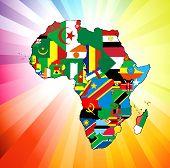 Bandera de continente africano mapa