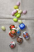 pic of ecclesiastical clothing  - Painted Colorful Easter Eggs on linen fabric - JPG