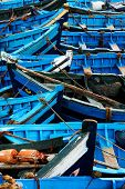 image of flatboat  - Blue fishing boats in Essaouira - JPG