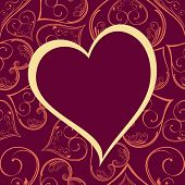 vector pattern heart shape frame in magenta color background with copy space for Valentines Day and other occasions.