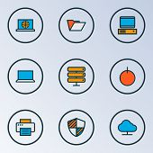 Computer Icons Colored Line Set With Start Button, Computer, Folder And Other Portable Computer Elem poster