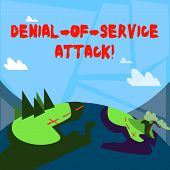 Word Writing Text Denial Of Service Attack. Business Concept For Attack Meant To Shut Down A Machine poster