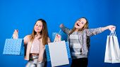 Happy Children In Shop With Bags. Shopping Is Best Therapy. Shopping Day Happiness. Sisters Shopping poster