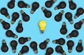 Business Creative And Idea Concept : Yellow Light Bulb Lie On Blue Background Surrounded With Many B poster