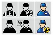 Auto mechanic avatar icons set.
