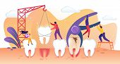 Tiny Dentist People Characters Treating Disease Teeth. Tooth Deletion And Implantation Into Gum. Pre poster