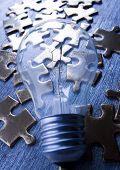Light Bulb On Jigsaw
