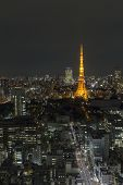 Tokyo ,japan - October 11:tokyo City Skyline In Evening With Tokyo Tower At Night, Oct 11,2016, Toky poster