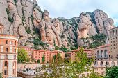 Santa Maria De Montserrat Abbey In Monistrol De Montserrat, Catalonia, Spain. Famous For The Virgin  poster