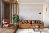 Modern Living Room Interior With Brick Wall Blank Wall, Leather Brown Sofa, Red Lounge Chair, Table, poster
