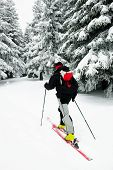 Ski touring in harsh winter conditions