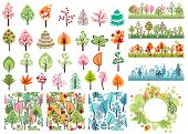 Various stylized spring,summer,autumn and winter vector trees for your design. Contains 29 different