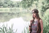 Beautiful Hippie Girl On The Background Of A Forest Lake poster