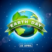 Earth Day Illustration With Planet And Green Leaf. World Map Background On April 22 Environment Conc poster