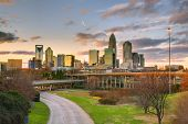 Skyline of Charlotte, North Carolina at dusk