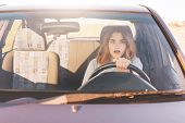 Fearful Driving Woman, Learns To Drive Automobile, Attractive Female Sits At Wheel Alone For First T poster