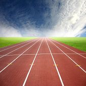 stock photo of race track  - Its a racing track for runners athlete sport - JPG