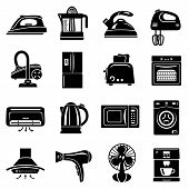 House Appliance Icons Set. Simple Illustration Of 16 House Appliance Icons For Web poster