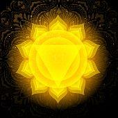 Manipura Chakra Colorful Glowing Symbol With Mandala Background. Spiritual Meditation Element Vector poster