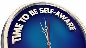 Time to Be Self Aware Knowledge Clock Words 3d Illustration poster
