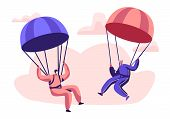 Happy Aged Pensioner Characters Doing Extreme Sport, Skydiving With Parachute, Senior Man And Woman  poster