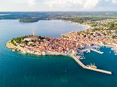 Croatian Town Of Rovinj On A Shore Of Blue Azure Turquoise Adriatic Sea, Lagoons Of Istrian Peninsul poster