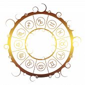 Astrological Symbols In The Circle. Vector Illustration poster