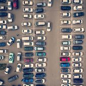 A View From Above To The Ranks Of Head-in Parked Cars.end-to-end Parking. Cruising For Parking Space poster