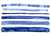 Set Of Hand Painted Indigo Blue Watercolor Simple Stripes. Isolated On White Background. Navy Blue M poster
