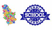 Mosaic Puzzle Map Of Serbia And Unclean School Stamp With Ribbon. Vector Map Of Serbia Designed With poster