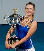 MELBOURNE - JANUARY 28: Victoria Azarenka of Belarus in her championship win over Maria Sharapova of