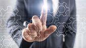Gears Mechanism, Digital Transformation, Data Integration And Digital Technology Concept. poster