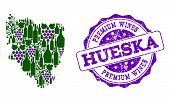 Vector Collage Of Grape Wine Map Of Hueska Province And Purple Grunge Seal For Premium Wines Awards. poster