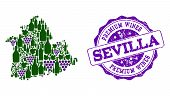 Vector Collage Of Grape Wine Map Of Sevilla Province And Purple Grunge Seal Stamp For Premium Wines  poster