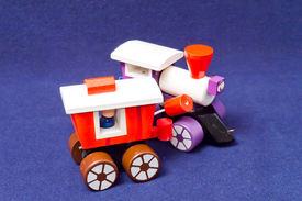 picture of caboose  - Toy wooden pull toy engine and caboose - JPG