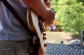Guitarist Plays During A Soundcheck On Stage