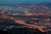 Nightfall In The Great Bilbao, Bizkaia, Basque Country, Spain