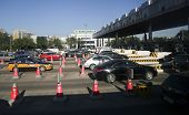 BEIJING - OCTOBER 13: Vehicles line up at the toll both of a highway on October 13, 2012 in Beijing,