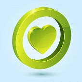 Green heart symbol isolated on blue background