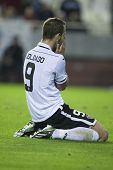 VALENCIA - NOVEMBER 20: Roberto Soldado during UEFA Champions League match between Valencia CF and F