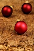 Christmas Tree Balls On A Old Wooden Board
